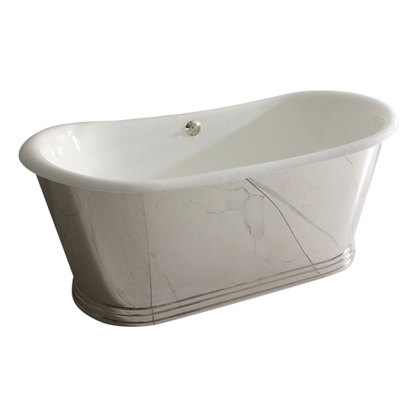 "'The Lindisfarne NEW68' 68"" Cast Iron French Bateau Tub with Mirror Polished Stainless Steel Exterior with Penhaglion Step Base and Drain"