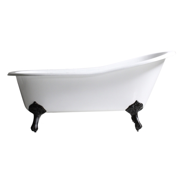 "Any Solid Color 'Malton-67' 67"" Cast Iron Single Slipper Clawfoot Tub and Drain"