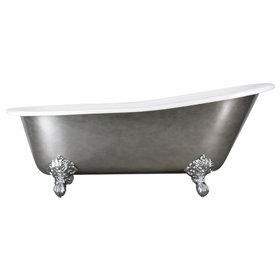 "'The Marrick' 67"" Cast Iron Single Slipper Clawfoot Tub with Aged Chrome Exterior and Drain"