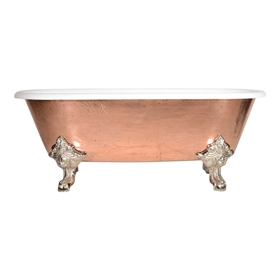 "'The Marseilles-66' 66"" Cast Iron Double Ended Clawfoot Tub with PURE METAL Polished Copper Exterior and Drain"