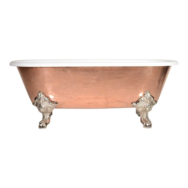 "'The Marseilles-73' 73"" Cast Iron Double Ended Clawfoot Tub with PURE METAL Polished Copper Exterior and Drain"