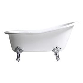 "Any Solid Color 'Mattersey-61' 61"" Cast Iron Single Slipper Clawfoot Tub with Drain"