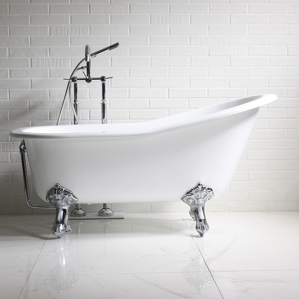 black and white clawfoot tub.  The Mattersey 61 Cast Iron Single Slipper Clawfoot Tub and Drain