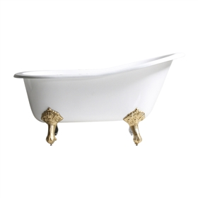 "Any Solid Color 'Michelham-57' 57"" Cast Iron Single Slipper Clawfoot Tub with Drain"