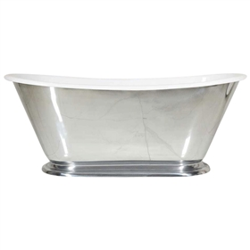 "'The Monaco-MP-60' 60"" Cast Iron Petite French Bateau Tub with PURE-METAL Mirror Pewter Effect Exterior and Drain"