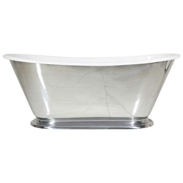"'The Monaco-MP-60' 60"" Cast Iron Petite French Bateau Tub with PURE-METAL Polished Lead Free Zinc Exterior and Drain"