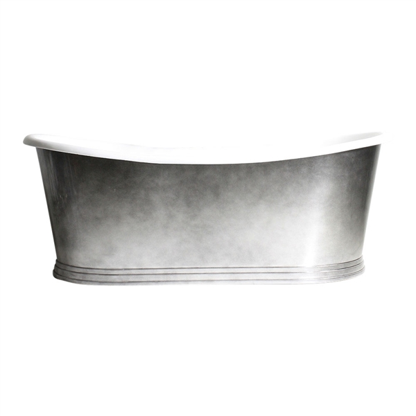 "<br> 'The New Whitby68' 68"" Cast Iron French Bateau Tub with Aged Chrome Finish Metal Exterior and Penhaglion Step Base plus Drain<br>"