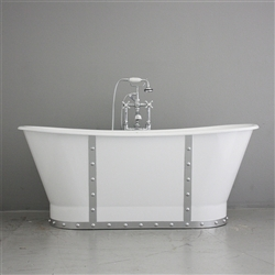 "<br>'The Nautica' 68"" Cast Iron French Bateau Tub with WHITE Exterior and CHROME Finish straps plus Drain<br>"