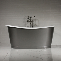 "'The Newminster' 68"" Cast Iron French Bateau Skirted Tub with STEEL Effect Exterior"