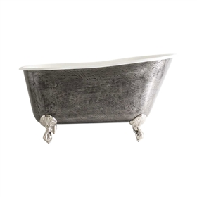 "<br>'The Newstead' 54"" Cast Iron Swedish Slipper Clawfoot Tub<BR>with a HAND BURNISHED Natural Iron Exterior plus Drain<BR>"