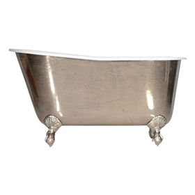 "'The Newstead-PN-54' 54"" Cast Iron Swedish Slipper Clawfoot Tub with PURE METAL Polished Nickel Exterior plus Drain"