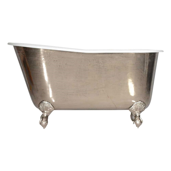 "'The Newstead-PN-54' 54"" Cast Iron Swedish Slipper Clawfoot Tub with PURE METAL Polished Nickel Exterior and Drain"