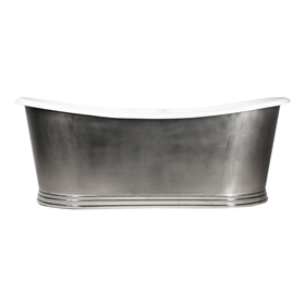 "'The NonSuch59' 59"" Cast Iron French Bateau Tub with Mixed Finish Stainless Steel Exterior with Penhaglion Step Base and Drain"