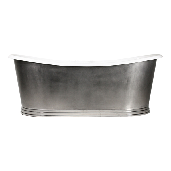"'The NonSuch68' 68"" Cast Iron French Bateau Tub with Mixed Finish Stainless Steel Exterior with Penhaglion Step Base and Drain"
