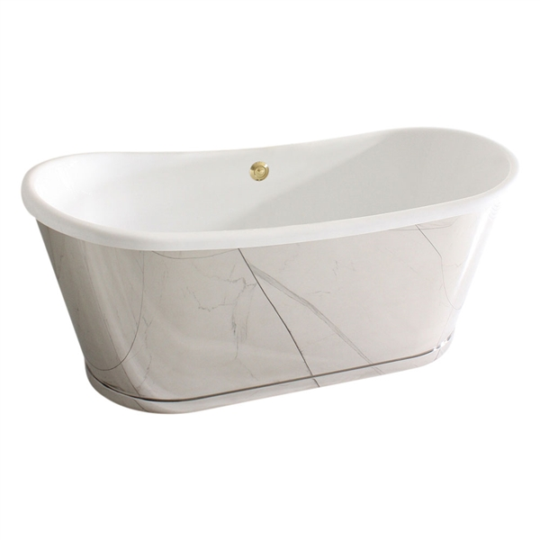 "<br>'The ORONSAY59' 59"" CoreAcryl Acrylic French Bateau Tub with Mirror Polished Stainless Steel Exterior and Base Trim plus Drain<br>"