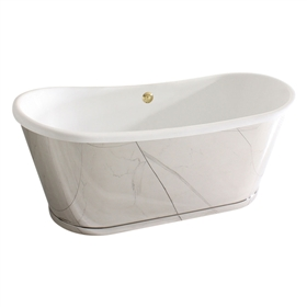 "<br>'The ORONSAY73' 73"" CoreAcryl Acrylic French Bateau Tub with Mirror Polished Stainless Steel Exterior and Base Trim plus Drain<br>"