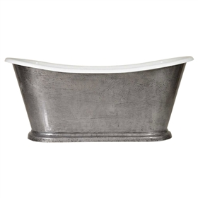 "'The Paris-IB-67' 67"" Cast Iron French Bateau Tub with HAND BURNISHED Natural Iron Exterior and Drain"