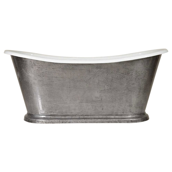 "'The Paris-IB-73' 73"" Cast Iron French Bateau Tub with HAND BURNISHED Natural Iron Exterior and Drain"