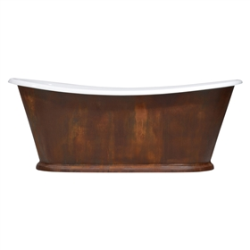 "'The Paris-IR-73' 73"" Cast Iron French Bateau Tub with IRON RUST Exterior and Drain"