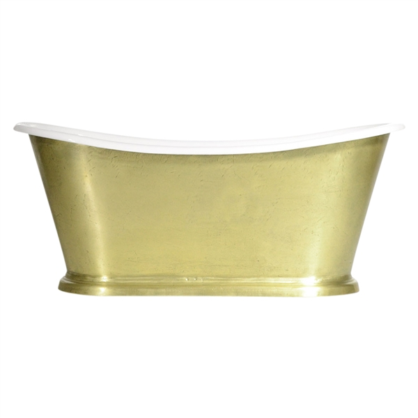 "'The Paris-LFBU-73' 73"" Cast Iron French Bateau Tub with a Burnished Brass Exterior and Drain"