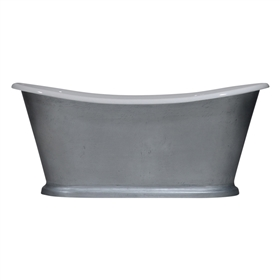 "'The Paris-LFZC-73' 73"" Cast Iron French Bateau Tub with Burnished Zinc Exterior and Drain"