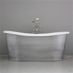 "<br>'The Pershore68' 68"" Cast Iron French Bateau Tub with BRUSHED ALUMINUM Exterior plus Drain<br>"