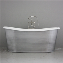 "<br>'The Pershore73' 73"" Cast Iron French Bateau Tub with BRUSHED ALUMINUM Exterior plus Drain<br>"