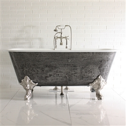 "'The Portchester' 67"" Cast Iron Large Rectangular Clawfoot Tub with a HAND BURNISHED Natural Iron Exterior plus Drain"