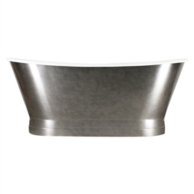 "'The Revesby' 68"" Cast Iron French Bateau Tub with Aged Chrome Exterior and Drain"