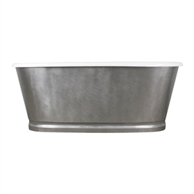 "<br>'The Royston73' 73"" Cast Iron Double Ended Tub with BURNISHED-80 Non-Reflective Angled Stainless Steel Exterior with Base Trim plus Drain<br>"