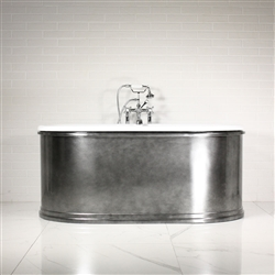 "<br>'The Rushen61' 61"" Cast Iron Double Ended Skirted Tub with AGED CHROME  Exterior plus Drain<br>"