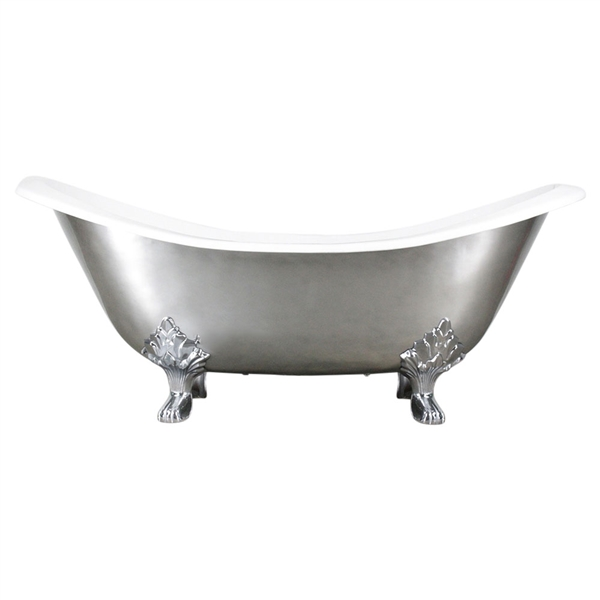 "'The Salisbury73' 73"" Cast Iron Double Slipper Clawfoot Tub with Aged Chrome Exterior and Drain"
