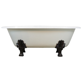 "Any Solid Color 'Selkirk' 65"" Cast Iron Double Ended Oval Clawfoot Tub and Drain"