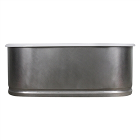 "<br>'The Sherborne73' 73"" Cast Iron Double Ended Tub with BURNISHED-80 Non-Reflective Stainless Steel Exterior and Base Trim plus Drain<br>"