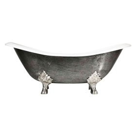 "'The Sibton' 73"" Cast Iron Double Slipper Clawfoot Tub with HAND BURNISHED Exterior"