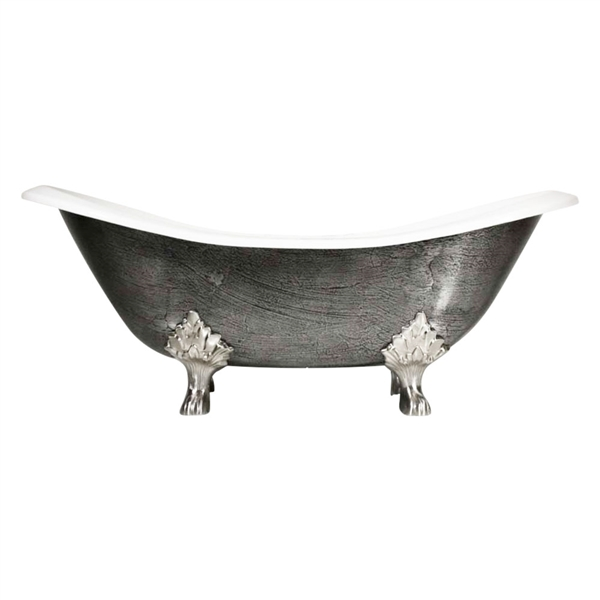"<br>'The Sibton73' 73"" Cast Iron Double Slipper Clawfoot Tub<BR> with a HAND BURNISHED Natural Iron Exterior plus Drain<BR>"
