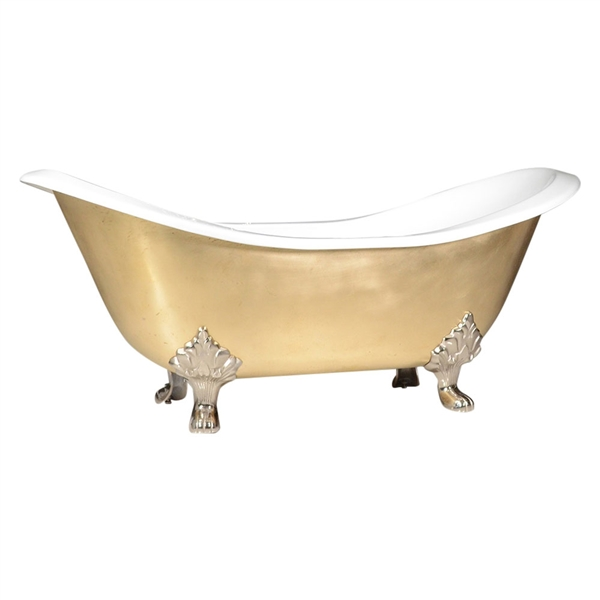 "'The Sibton-BB-68' 68"" Cast Iron Double Slipper Clawfoot Tub with Brushed Brass Exterior and Drain"