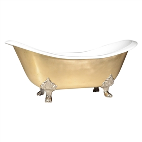 "'The Sibton-BB-73' 73"" Cast Iron Double Slipper Clawfoot Tub with Brushed Brass Exterior and Drain"