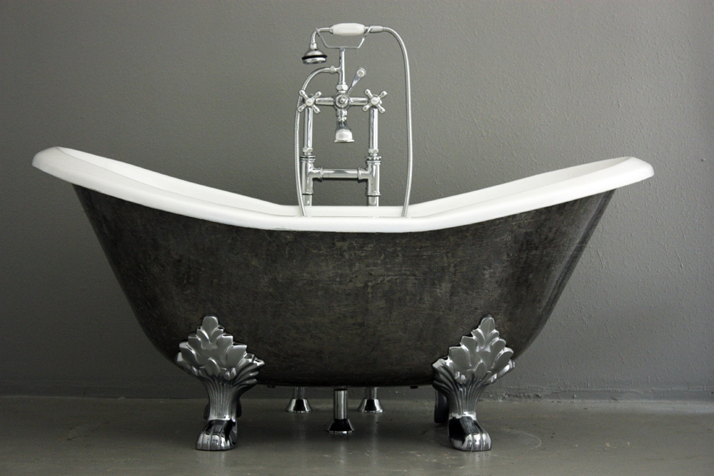 "the stratford' 61"" cast iron double slipper clawfoot tub with a hand"