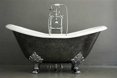 "<br>'The Stratford' 61"" Cast Iron Double Slipper Clawfoot Tub with a HAND BURNISHED Natural Iron Exterior plus Drain<BR>"