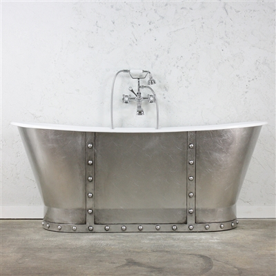 "<br>'The Tintagel' 68"" Cast Iron French Bateau Tub with Antiqued Faux Silver Leaf Exterior and Drain<br>"