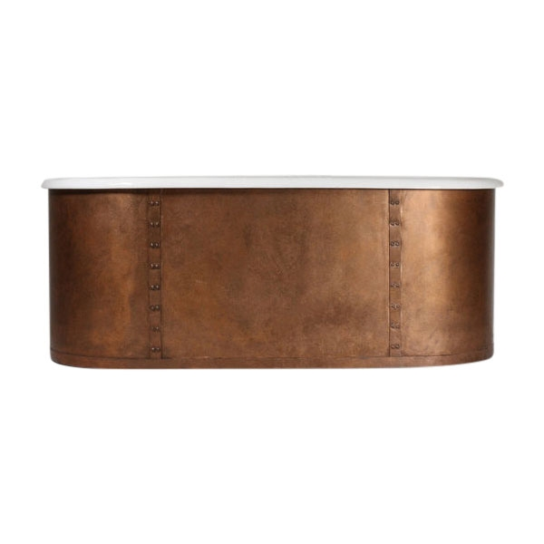 "'The Ulverscroft66' 66"" Cast Iron Double Ended Tub with Aged Copper Riveted Straps Exterior and Drain"