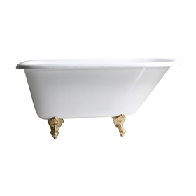 "Any Solid Color 'Valle-54' 54"" Cast Iron Classic Style Clawfoot Tub with Drain"