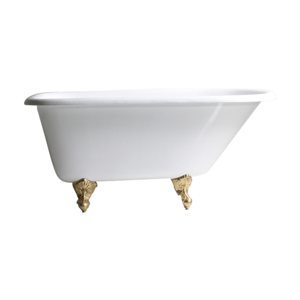 "Any Solid Color 'Valle-54' 54"" All Inclusive Cast Iron Classic Style Clawfoot Tub Package"