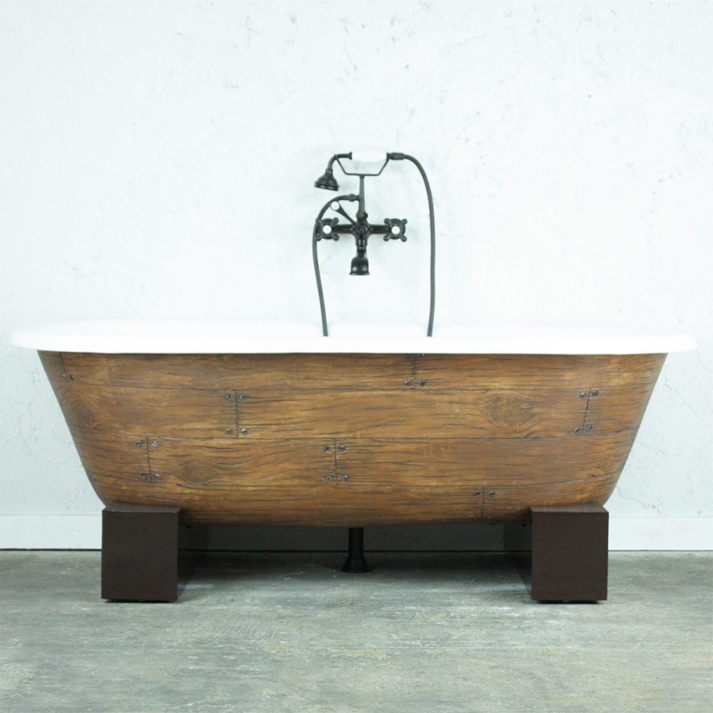 Only One Made The Vale66 66 Cast Iron Double Ended Clawfoot Bathtub With A Faux Wood Exterior Plus Drain