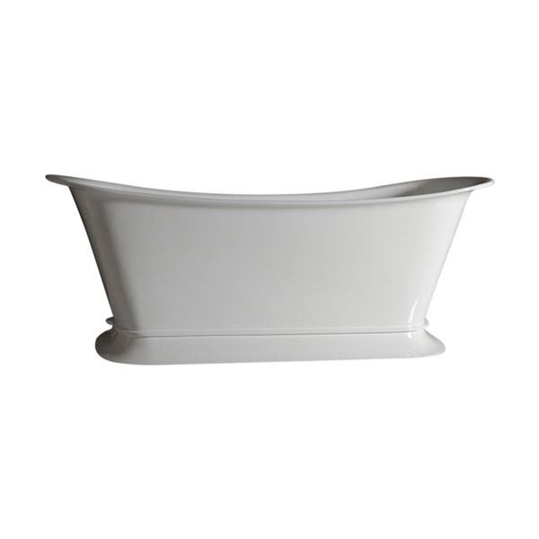 "'The Valloires-WH-59' 59"" Cast Iron Chariot Tub with High Gloss White Exterior and Drain"