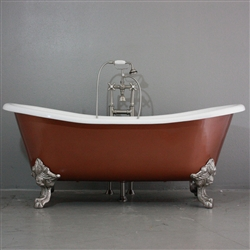"<br>'The Welbeck' 73"" Cast Iron French Bateau Clawfoot Tub with Copper Effect Finish Exterior plus Drain<BR>"