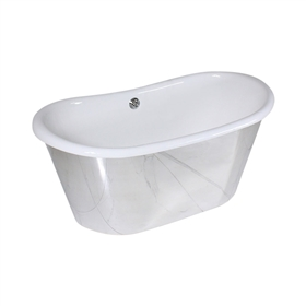 "<br>'The Westminster59' 59"" Cast Iron French Bateau Tub with Mirror Polished Stainless Steel Exterior and Drain"