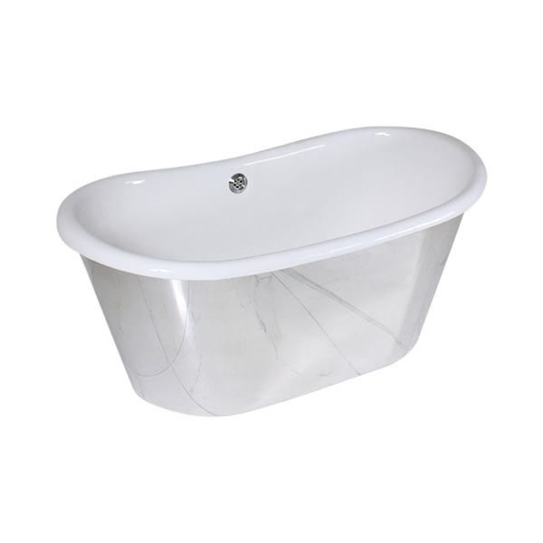 "<br>'The Westminster59' 59"" Cast Iron French Bateau Tub with Mirror Polished Stainless Steel Exterior and Drain<br>"