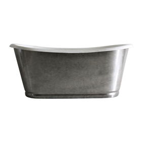"'The Whitby59' 59"" Cast Iron French Bateau Tub with Aged Chrome Exterior and Drain"